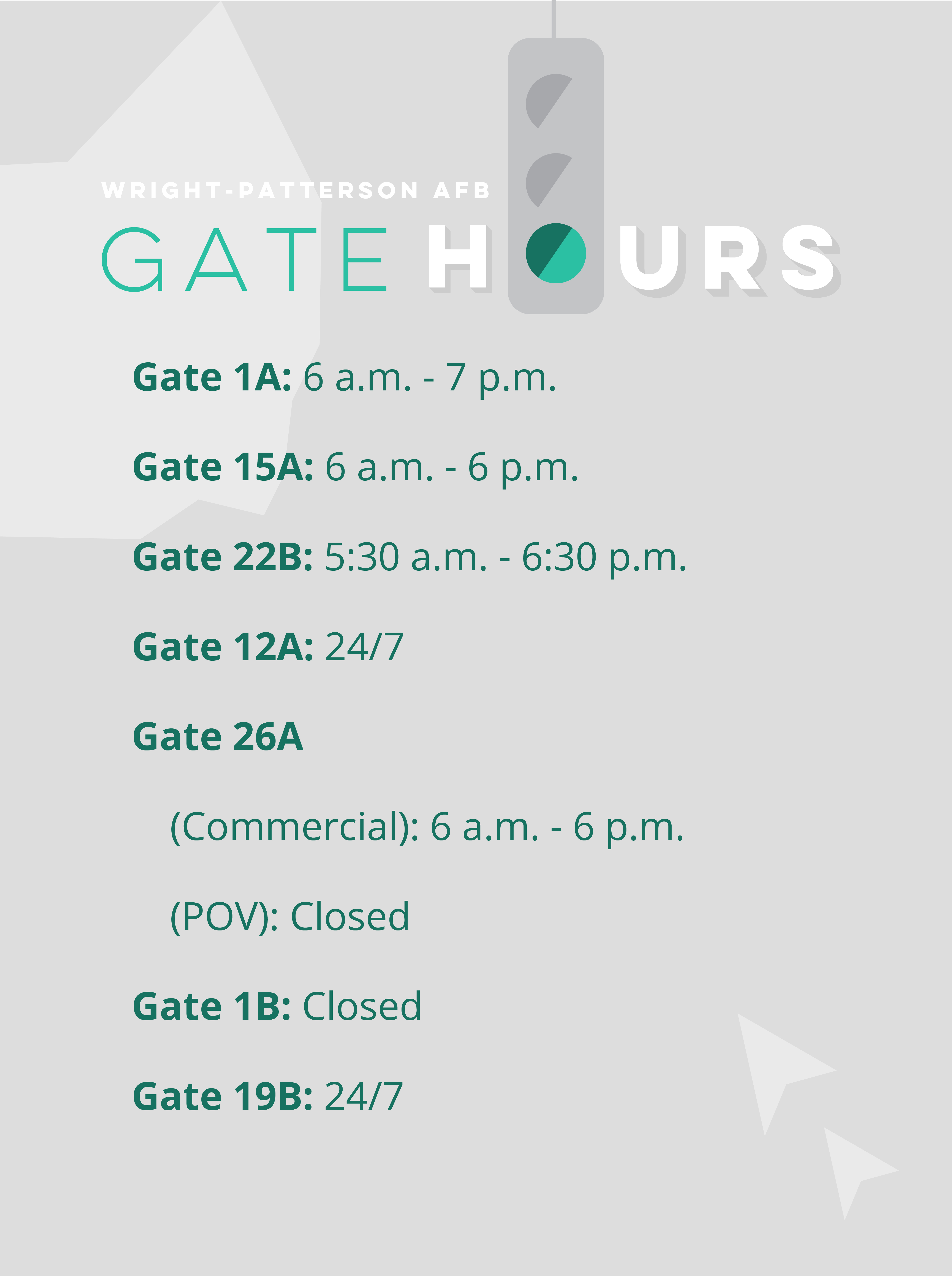 Gate operating hours graphic