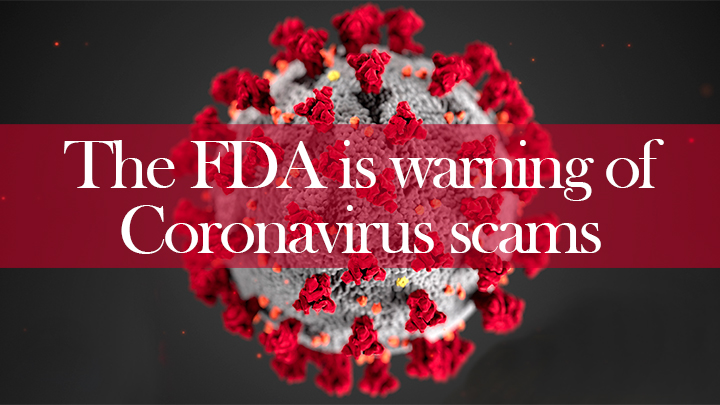 Graphic about FDA warning of Coronavirus scams